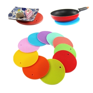 100% Food Grade Round shape silicone mat, colorful silicone round dinner mat