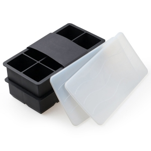 2 Inch Giant Silicone Ice Cube Tray with lid, Square silicone ice tray, Jumbo Silicone Ice Tray for Whisky