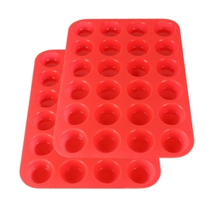 2 Packs Silicone Mini Muffin Pan,24 Cup Silicone baking Molds,BPA free silicone Cupcake Baking Pan