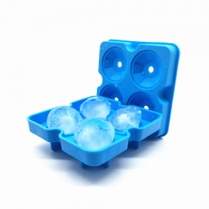 2017 New Arrival ! 4 Cavity Silicone Diamond Ice Cube Mold Tray with Mini Funnel