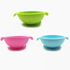 2018 NEW Design 100% Food Grade Tableware Silicone kids feeding Bowl with Handles