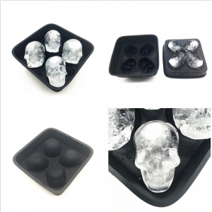 3D Skull Flexible Silicone Ice Cube Mold Tray, Makes Four Giant Skulls, Round Ice Cube Maker