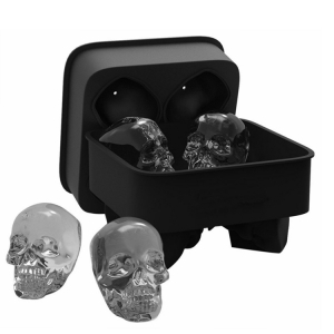 3D Skull Silicone Ice Cube Mold Tray , 4 Cavity  Giant Skulls Shape Ice Cube Maker for Whiskey Ice and Cocktails