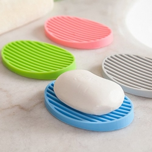 4 Pack Assorted Color Oval Silicone Soap Dish Set FDA Silicone Soap Saver Holder Tray