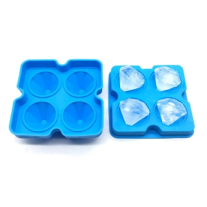 4 Pack Diamond-Shaped Silicone Ice Cube Trays with Lids,BPA-Free Silicone Easy Release Ice Molds with funnel
