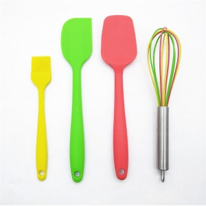 4 Pieces Food Grade Silicone Kitchen Spatula Set,Heat Resistant Cooking Spatulas with Metal Core