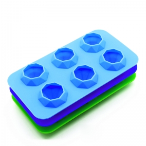 6 Cavity Factory Direct Silicone Diamond Ice Cube Mould, Diamond shaped Ice Cube