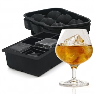 6 Hohlraum Jumbo Square Ice Tray, 2 Pack Ice Cube Trays Silikon Sphere Ice Moulds Ice Ball Maker Tray für Whisky