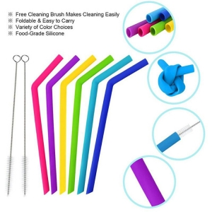 6pcs/set BPA Free Silicone Drinking Straws Flexible Silicone Straws with Cleaning Brushes