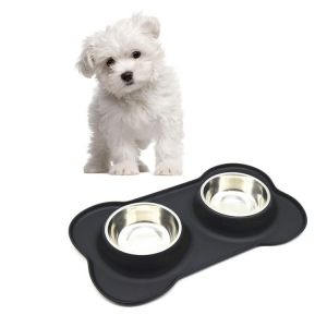 Amazon Hot ! Removable Stainless Steel Dog Bowl With No Spill Non-Skid Silicone Mat , Pet Bowl For Dogs Cats and Pet