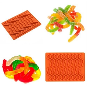 Amazon Hot Selling 100% Food Grade Silicone Gummy Worm Candy Chocolate Mold