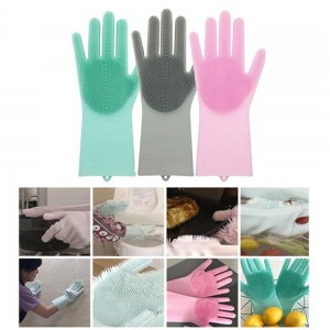 Amazon Hot Selling Reusable Magic Silicone Gloves with Wash Scrubber - Silicone Dishwashing Gloves