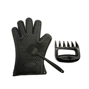 Amazon Hot Selling Silicone Kitchen Microwave Oven BBQ Glove , Plastic Meat Claws And Silicone BBQ Brush