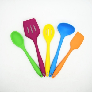 Amazon hot FDA multi color Heat Resistant silicone kitchen utensils,silicone cooking utensils-set of 5