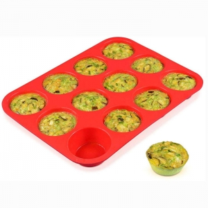 BPA Free Nonstick Large 12 Cups Silicone Round Muffin Baking Pan Tray