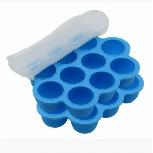 BPA Free Silicone Baby Food Storage Container,10 Cavity Baby Food Serving Tray with Clip On Lid