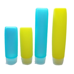 BPA Free Silicone Travel Bottles,4 Pack Portable Travel Bottles for Shampoo Cosmetic