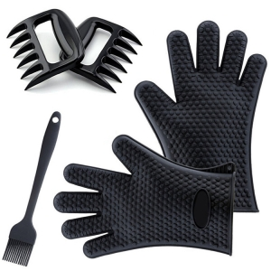 Best Versatile Heat Resistant Grill Gloves with meat claw | Insulated Silicone Oven Mitts For Grilling