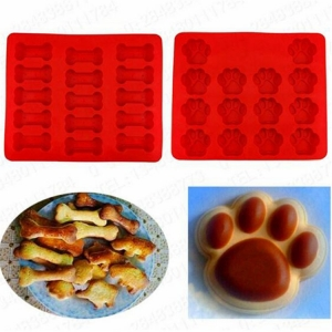 China Supplier 2-Pack Food Grade Silicone Dog Paw and Bone Molds,Large Dog Treat Baking Mold