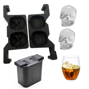 Clear-crystal Double Skull Ice Ball Tray Mold with tong - Makes 2 Large Crystal Clear Sphere mold