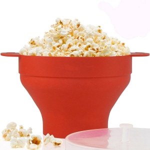 Dishwasher Safe Microwave Popcorn Popper with Lid, BBA free Silicone Popcorn Maker
