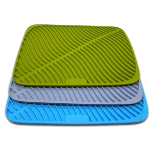 Durable Silicone Dish Drying Mat, Deep Groove Silicone Drying Mat Pad with Dish Sponge Brush