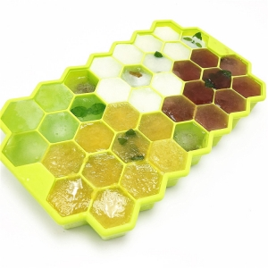 Easy Release 37 Cavity Bee Honeycomb Silicone Ice Cube Tray with Lid,Frozen Mini Ice Cube Chocolate Maker