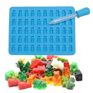 Gummy Bears BPA Free Silicone Mold of 3pcs/set easy to use Droppers for chocolate candy molds and Ice trays