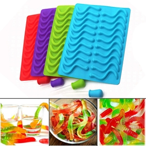 Gummy Worms/bears Mold+2PS Dropper for Healthy Gummy Bears Making,DIY Candy, Halloween Gummy Chocolate