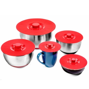 Microwave Oven Safe Flexible Silicone Pot Cover,5 PCS Flower Shape Suction Bowl Cover Lid