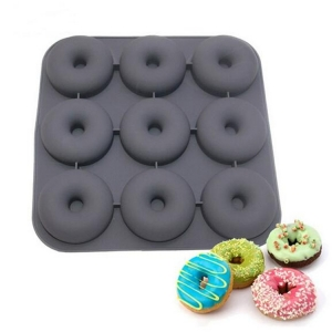 New Arrival 9 Cavity Donut Pan Silicone Muffin Donut Baking Mold