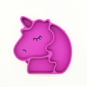 New Silicone Suction Plate ,Unicorn Shape baby placemat For Toddlers, Dishwasher, Microwave and Oven Safe
