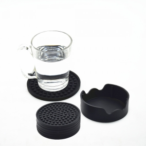 Non Slip Good Grips Silicone Drink Coaster with Holder Set of 6