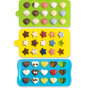 Non Stick BPA Free Flexible Hearts, Stars & Shells Shape Silicone Chocolate Mold, Candy Molds
