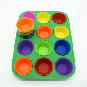 Non stick Dishwasher Microwave Safe 12 cups silicone mini muffin pan,silicone baking pan