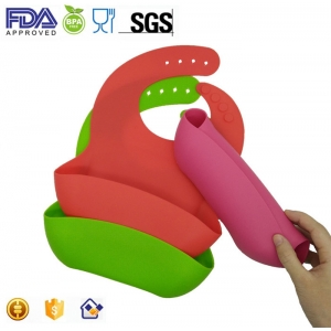 OEM FDA Approved Waterproof Silicone Baby Bibs with Wide Catcher