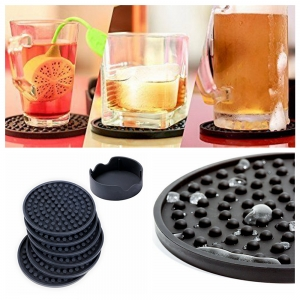 Packs of 6 Silicone Drink Coasters with Holder Silicone Coasters Holder for Drinks