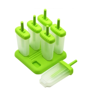 Popsicle Molds Set BPA Free - 6 Ice Pop Makers, Top-Quality Plastic Popsicle Mold Set