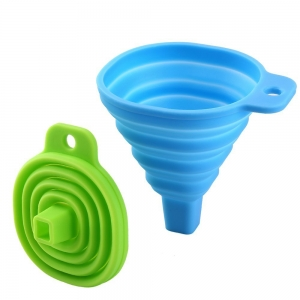 Promotional FDA silicone rubber foldable funnel for kitchen accessories
