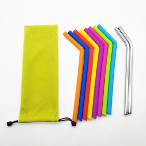 Reusable Silicone Drinking Straws Extra long Flexible Straws with Cleaning Brushes