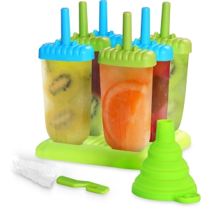 Set of 6 Ice Pop Maker,DIY Ice Cream Popsicle Molds with Sticks, Plastic PP Reusable Homemade Tools
