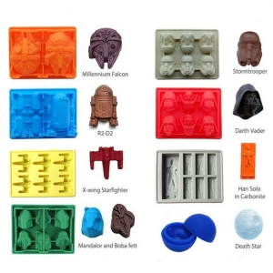 Set of 8 Star Wars Silicone Chocolate Candy Mold Ice Cube Tray for Stormtrooper, Darth Vader, X-Wing Fighter, Millennium Falcon, R2-D2, Han Solo, Boba Fett and Death Star
