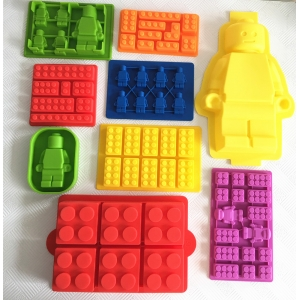 Set of 9 Silicone Lego Molds, Minifigures and Building Bricks Silicone Ice Cube Tray Chocolate Candy Molds