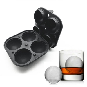 Sphere Ice Maker ball Molds – 4 Ice Mold Round Ice Cubes For Drinks Silicone Tray Silicon Whiskey Ice Cube Trays Balls Makers