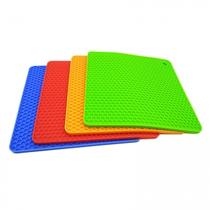 Square Honeycomb Heat Insulation Silicone trivet Pad, Pot Holder Mat