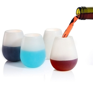 Unbreakable Outdoor  Silicone Wine Glass Set of 2,Foldable Party Cups for Travel Camping  100% Dishwasher Safe