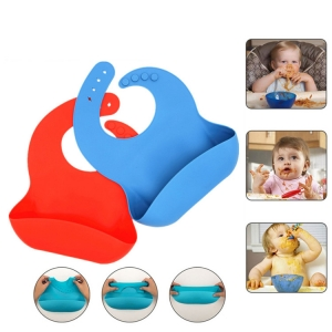 Waterproof Silicone Bib Easily Wipes Clean! Comfortable Soft Baby Bibs Keep Stains Off! Spend Less Time Cleaning after Meals with Babies or Toddlers!