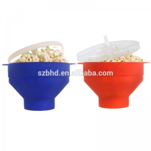 Wholesale Foldable Custom Silicone Microwave Popcorn Popper with Lid, Silicone popcorn maker
