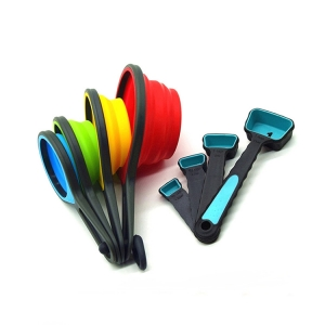 Wholesale Kitchenware Measuring Tools Foldable Silicone Measuring Cup , Collapse Silicone Measuring Spoon