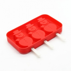China 3 Cavities Silicone Cute Ice Pop Mold with Lid, Ice Cream Bar Mold Popsicle Molds DIY Ice Cream Maker factory